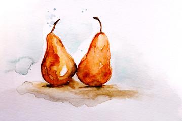 Illustrazione in acquarello di pere mature su sfondo bianco isolato