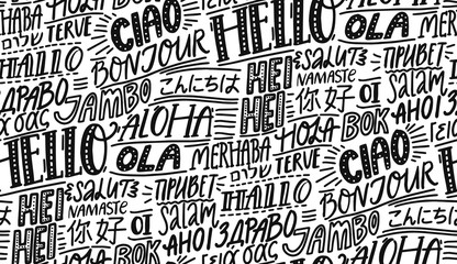 Hello in different languages. Typography seamless pattern. French bonjur, spanish hola, japanese konnichiwa, chinese nihao, indian namaste and other greetings. Handwritten wallpaper for hotels or