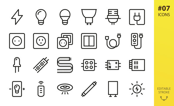 Electricity icons set. Set of lightbulb, lamp, bulb holder, electric plug, outlet, american socket, switch, extension cord, led strip, fluorescent tube light and starter, electrification vector icons