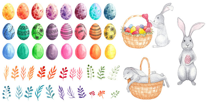 Set of watercolor multicolored easter eggs, bunnies, branches. Watercolor illustration of easter rabbits