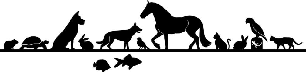 Animal Pets Set Silhouette Outline