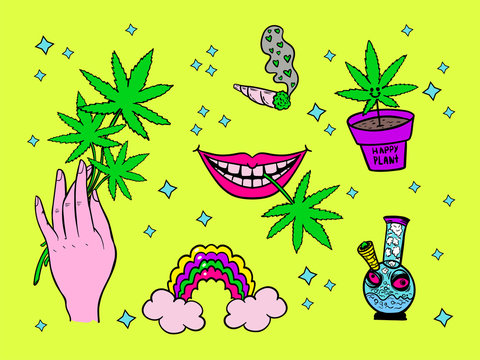 canabis symbols: bonk, hemp leaf, jamb, potted marijuana, positive drug