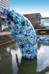 Statue of a giant whale made from plastic waste in Utrecht, Netherlands