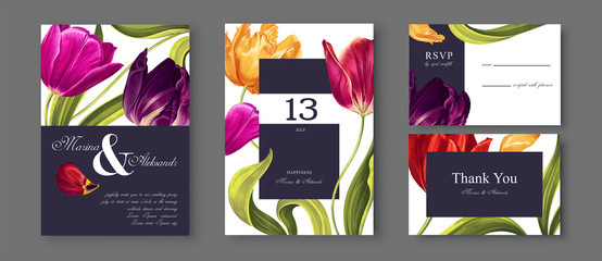 Tulips flowers, leaves and petals wedding save the date, Invitation floral cards collection realistic hand drawn vector botanical elements.Trendy cover, graphic poster, retro brochure, design template