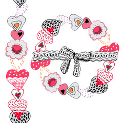 Wreath and endless brush with hand drawn sketch of  sewing hearts and decorative tapes. Color elements isolated on white background. Symbols for decorate card, banner or label.