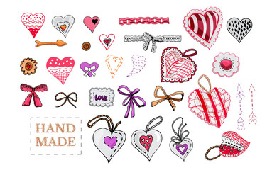 Hand drawn sketch of  sewing hearts, bows, decorative tapes, arrows and label. Color elements isolated on white background. Symbols for decorate card, banner or label. For Hand Happy Valentine's Day.