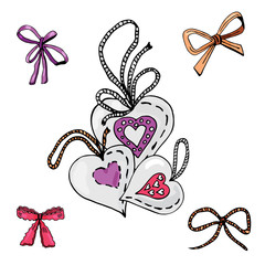 Collection of hand drawn sketch of  sewing hearts and bows.. Color elements isolated on white background. Symbols for decorate card, banner or label. For Hand made work or Happy Valentine's Day.