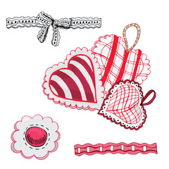 Composition with hand drawn sketch of  sewing hearts and decorative tapes. Color elements isolated on white background. Symbols for decorate card, banner or label. For  Happy Valentine's Day.