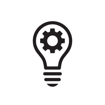 Lightbulb with gear cog concept black icon design. SEO business sign. solution symbol. Cogwheel electric lamp. Vector illustration.