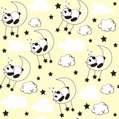 Cute panda sleeping in the moon on a yellow background seamless pattern