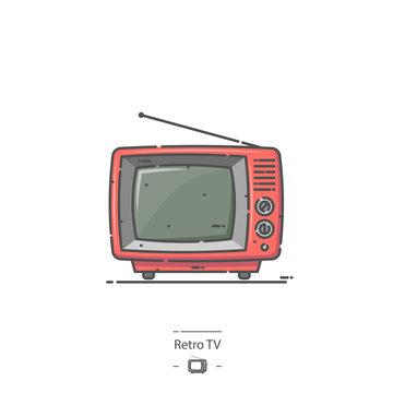 Red Retro TV - Line color icon