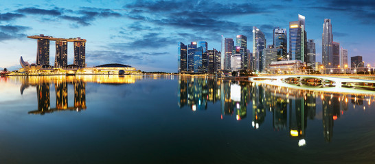 Fotomurales - Singapore down town panorama at night