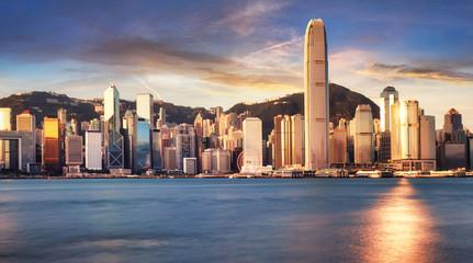 Hong Kong skyline from kowloon, panorama at sunrise, China - Asia Fotomurales