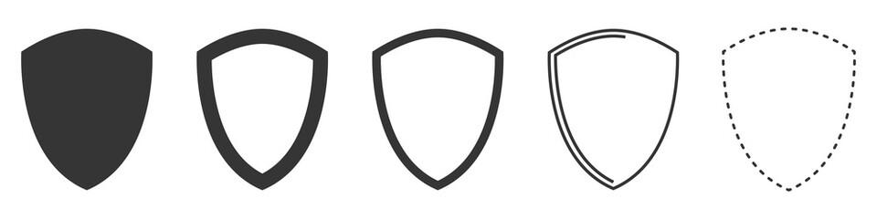 Shield vector icons. Set of black shields. Fototapete