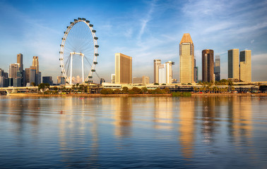 Fotomurales - Singapore at sunrise, panorama skyline with Marina bay