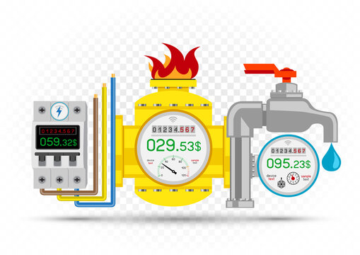 electric gas water meter icons set