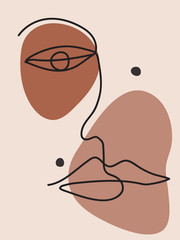 Elegant pastel vector illustration with one line drawn female face