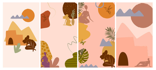 Set of various abstract vertical background for mobile app and social media content with elements, shapes, plants and female body silhouette in minimalistic style. Vector illustration