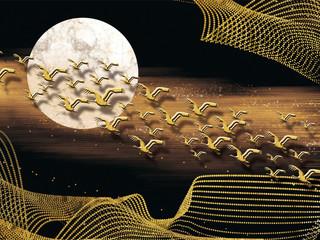 3d mural dark brown wallpaper with moon and golden birds . golden wave lines in background