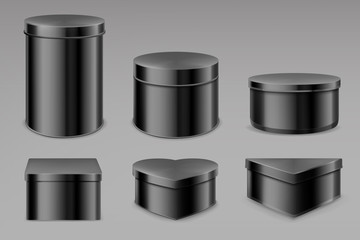 Black tin boxes set, blank jars for tea, coffee, spices or candies. Bottles mockup, different shapes cans for packaging dry products biscuits, candies isolated on grey background, Realistic 3d vector