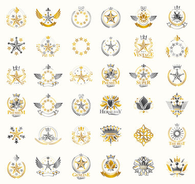Crowns and stars vintage heraldic emblems vector big set, antique heraldry symbolic badges and awards collection with coronets, classic style design elements, family emblems.