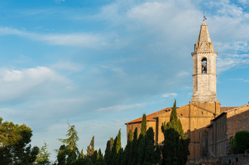 Fototapete - Campanile of cathedral in Medieval Town Pienza, Tuscany, Italy