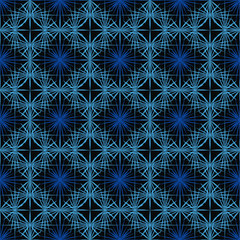 Seamless abstract geometric pattern of lines. Repeating decor of blue thorns on a dark black background for the design of textiles, fabric, wrapping paper, silk, cover, packaging, tablecloth, napkin