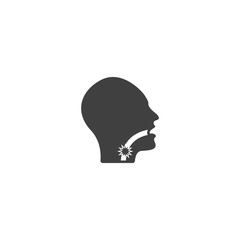 Sore throat icon in black color on a white background