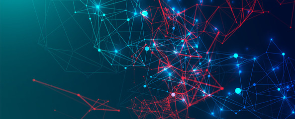 Wall Mural - Abstract polygonal vector science background with connecting dots and lines.