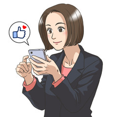 A business woman with a smartphone in her hand