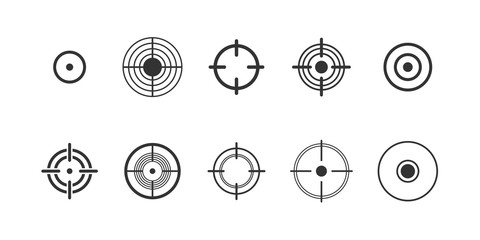 Target, pain circle vector glyph icons set. Sniper aim and dartboard black symbols collection. Pain localization marks isolated pack on white background. Radial abstract sign illustrations
