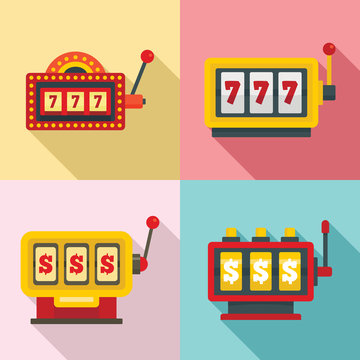Slot machine icons set. Flat set of slot machine vector icons for web design