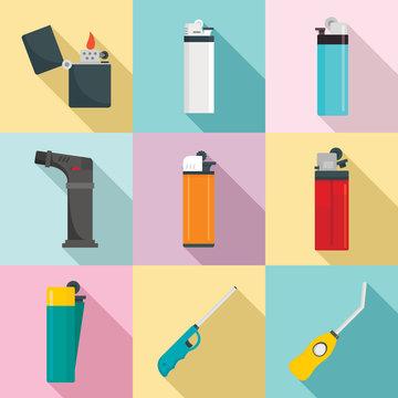 Cigarette lighter icons set. Flat set of cigarette lighter vector icons for web design