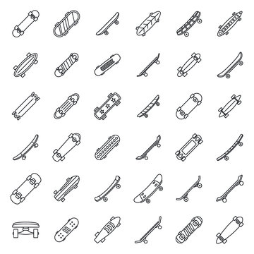 Skateboard equipment icons set. Outline set of skateboard equipment vector icons for web design isolated on white background