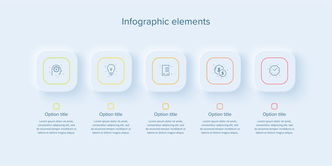 Business process chart infographics with 5 steps in neumorphism design. Sqaure corporate workflow graphic elements. Company flowchart presentation slide template. Vector info graphic.