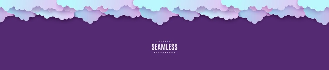 Foto op Textielframe Violet Night sky seamless pattern in paper cut style. Cut out 3d background with violet and blue gradient cloudy landscape papercut art. Cute origami clouds repetitive border. Vector card illustration