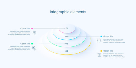 Business process chart infographics with 4 steps in neumorphism design. Circle corporate workflow graphic elements. Company flowchart presentation slide template. Vector info graphic.
