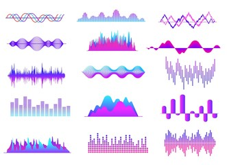 Sound waves. Color music wave, audio tune waveform pulse. Radio voice, soundtrack curves. Soundwave abstract volume signals vector set. Illustration soundwave and soundtrack wave, frequency curve