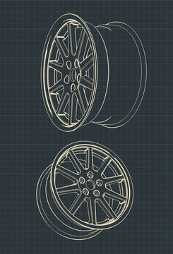 Car alloy wheels drawings