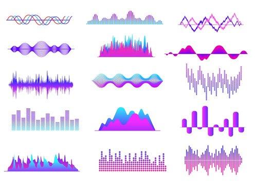 Sound waves. Color music wave, audio tune waveform pulse. Radio voice, soundtrack curves. Soundwave abstract volume signals vector set. Illustration soundwave and soundtrack wave, frequency curve