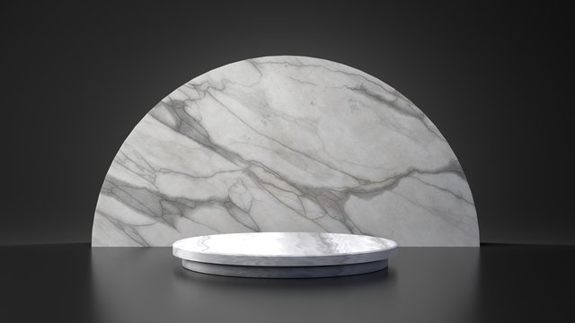 White marble product half moon circle stand on black background. Abstract minimal geometry concept. Studio podium platform. Exhibition and business presentation stage. 3D illustration render graphic