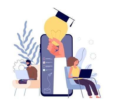 Online education. Distance learning students, e learning concept. People studying with laptops and tablets vector illustration. Education student online, distance university e-learning