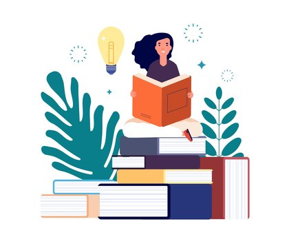 Self education. Girl reading book, study and gain new knowledge. Woman learns from textbooks. Business studying, have new idea vector concept. Education student read book new knowledge illustration