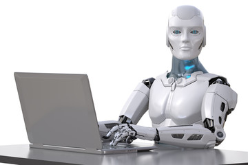 The robot works with a laptop
