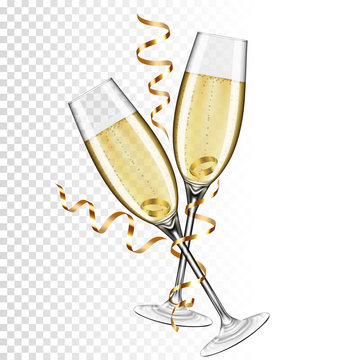 Two glasses of champagne with gold ribbon and ring, isolated on transparent background.