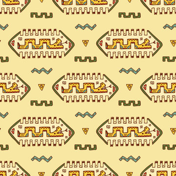 Mexican abstract patterns with snake. Mexico Vector Seamless pattern. Mexican items - Hand drawn doodle Mexican patterns. Mexican wall illustration with snake and abstract figures