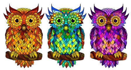 Foto op Plexiglas Uilen cartoon Owl. Wall sticker. Set of 3 artistic, hand-drawn, decorative multicolored owls on a white background.