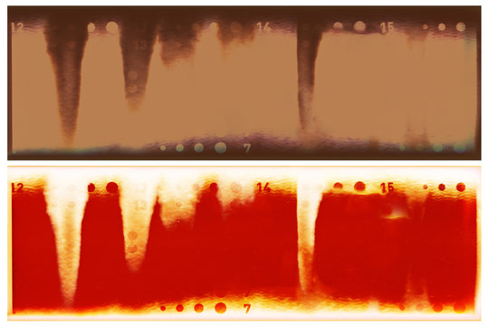 Film strip template with  light leaks burn overlay developed color 120 type (60mm) with no frames in negative and positive isolated on white background with work path.
