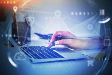 Fotobehang - Woman typing on laptop, big data interface