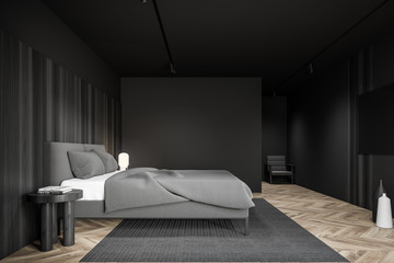 Gray and wooden bedroom interior with TV
